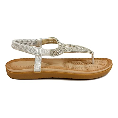 El Elástica Sandalia Tipo Con EsclavaMetalizada En Plana Correa R34Acq5jL