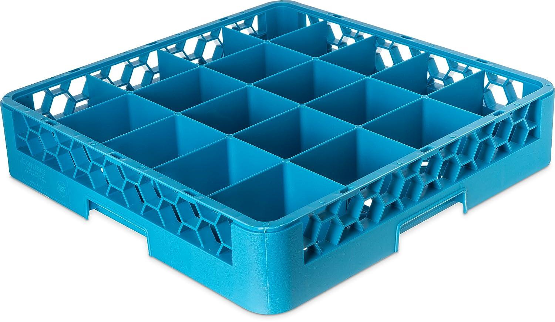 Set of 6 25-compartments, Polypropylene, Carlisle Blue Carlisle RG2514 OptiClean Dishwasher Glass Racks
