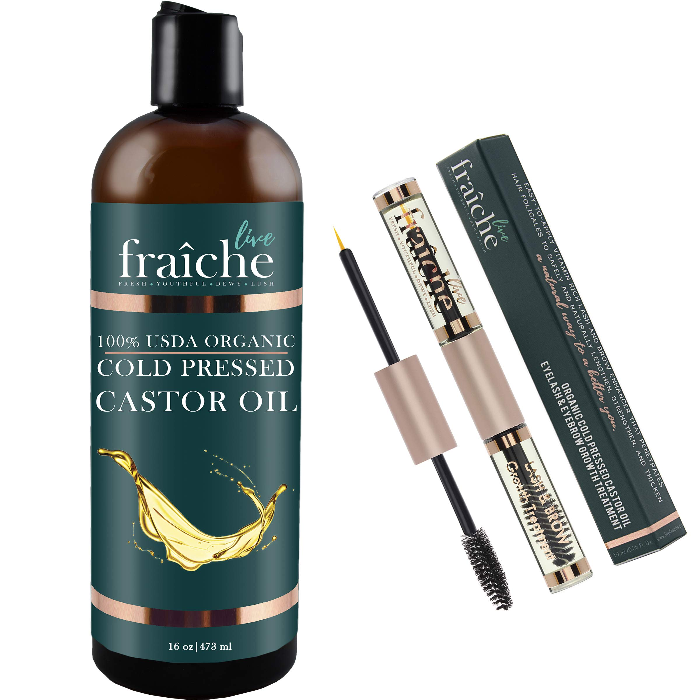 (VALUE PACK:16oz Bottle + 10ml Double Ended Eyeliner Mascara Tube) USDA Organic Castor Oil for Eyelashes and Eyebrows Hair Growth, Dry Skin - Cold Pressed Caster Oil Hair Growth Scalp Deep Conditioner