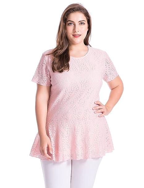 Chicwe Blusas Túnicas Tops Tallas Grandes Mujeres Encaje Forrado Camisas de Peplum Manga Corta Color Rubor