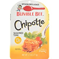 BUMBLE BEE Seasoned Tuna Pouch with Spoon tuna fish, Chipotle, 2.5 Ounce (Pack of 12)