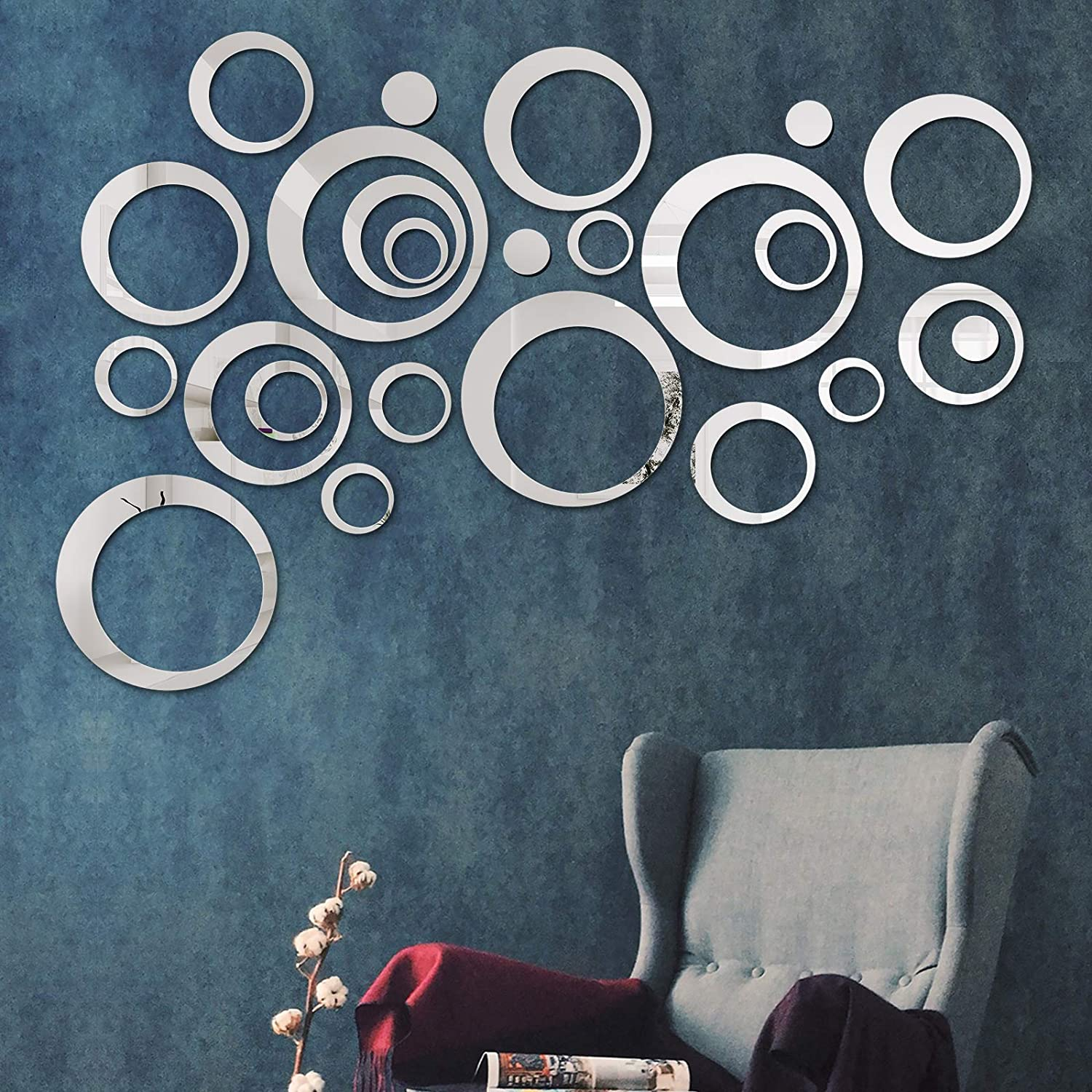 COCIVIVRE Mirror Wall Sticker, Removable Acrylic Circle Mirror Setting Wall Sticker 24pcs, DIY Family Wall Decor Sticker, 3D Mirror Sticker Wall Decoration for Living Room Home Bedroom, Silver