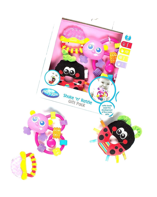 Pack de mordedor y sonajero Playgro 0183519 dise/ño mariquita color rosa