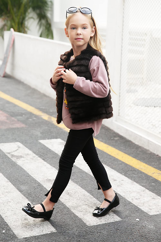 LLQ Chaleco para Niña Invierno Chaleco Piel Abrigo Sin Mangas Kids Fur Vest Chaqueta Pelo Tops Piel Chaleco Niña Chaqueta Piel Girl Fur Vest (Negro): ...