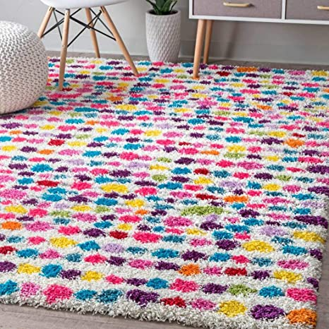 Ab 5 3 X 7 6 Kids Pink Purple Blue Striped Dots Shag Area Rug Rectangle Shaped Indoor Green Yellow Bohemian Carpet For Bedroom Beautiful Floor Mat Teens Polkadots Patterned Graphic Polypropylene Home