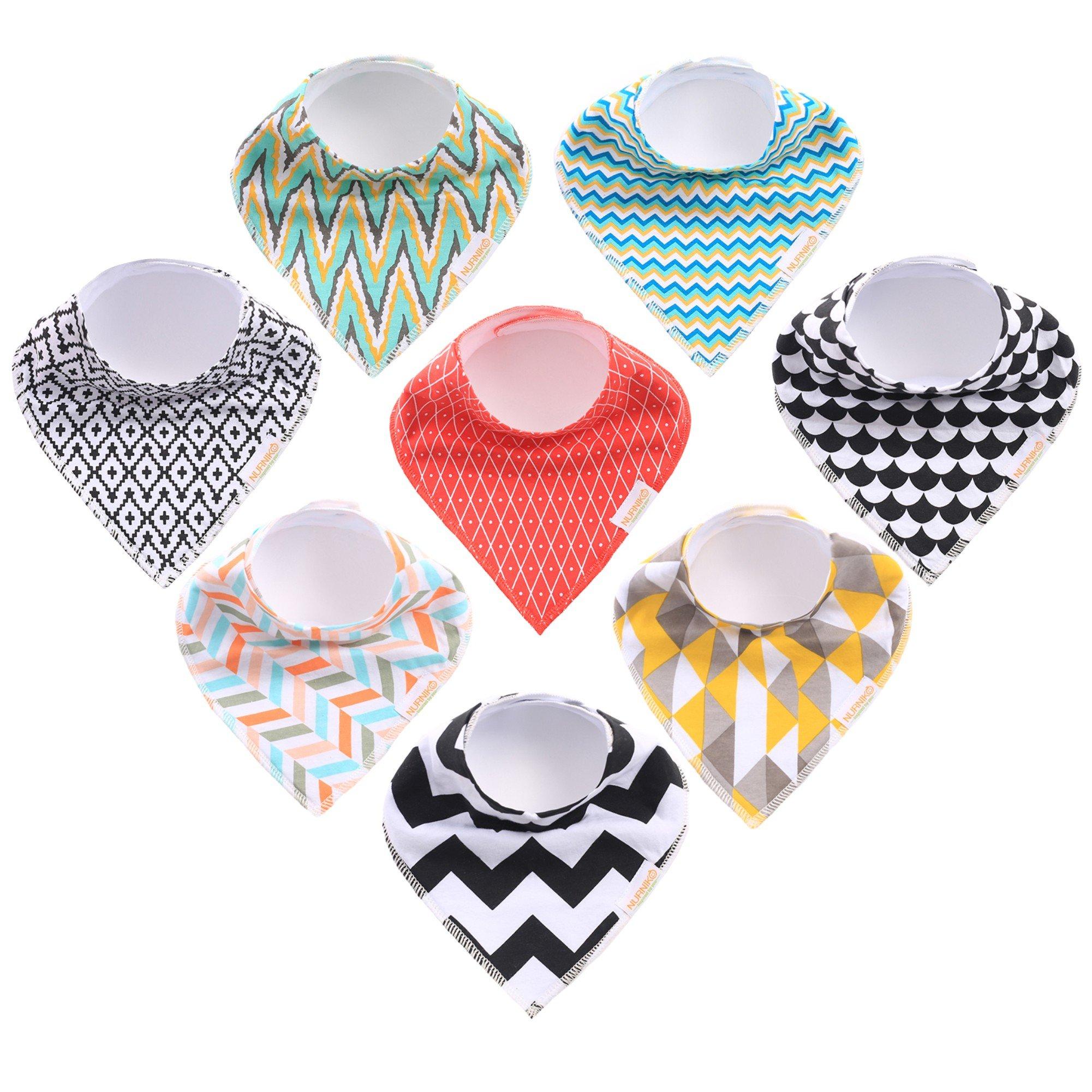 Nurniko Baby Bandana Drool Bibs | for Boys & Girls Fashionable Neutral Gender Soft Organic Cotton Set of 8
