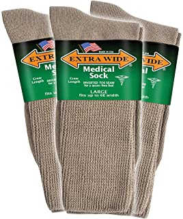 Big /& Tall Mens Extra Wide Socks Athletic Crew Size 8-11 WHITE 3-Pack #1214C