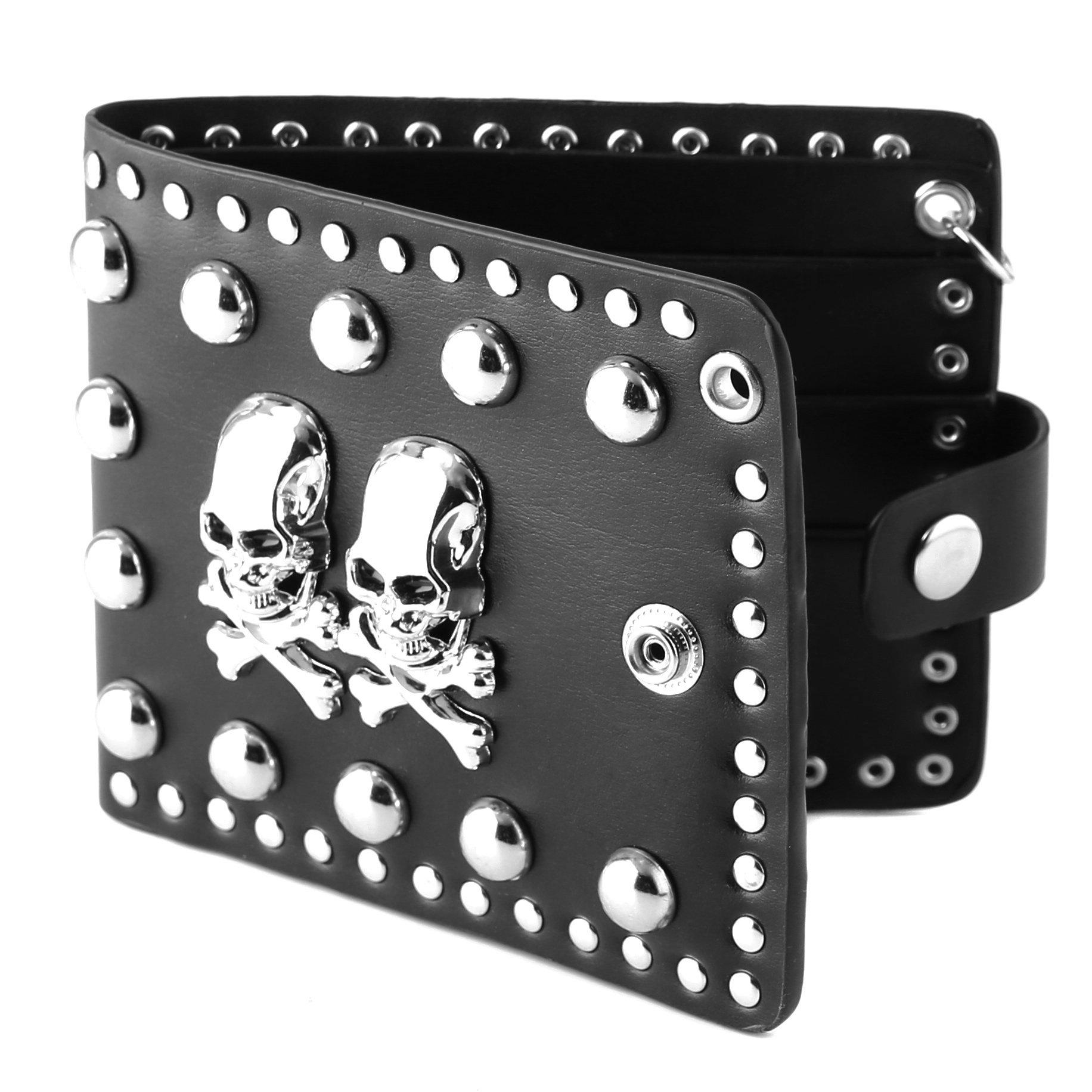 HZMAN Mens Skull Metal Rivet Leather Biker Punk Snap Wallet (2 x Skull)