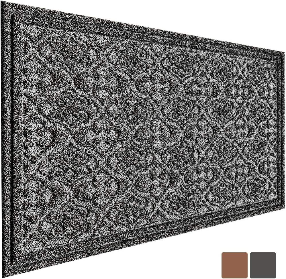 MAT 7-BANQUET Outdoor Door Mat for Front Door 36 x 24 inch Welcome Mat Debris Mud Trapper Outside Rubber Floor Mat Rug Large Extra Thick Textured Outdoor Mat for Entryway Frontgate Waterproof Gray