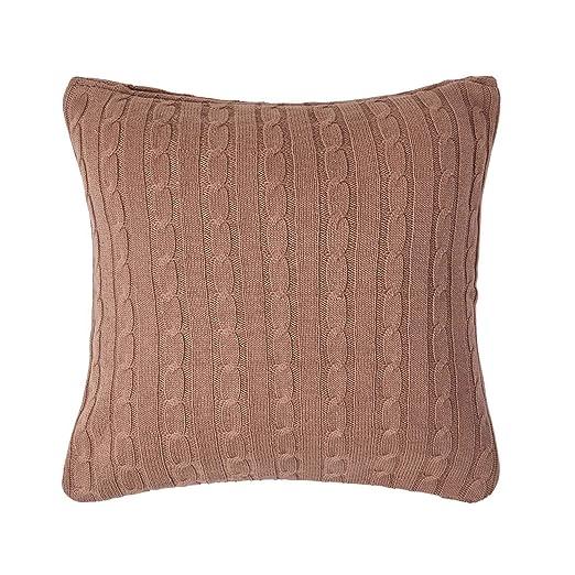 Homescapes - schlaftgut funda de cojín marrón con trenzado ...