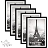 upsimples 11x17 Picture Frame Set of 5,Display Pictures 9x15 with Mat or 11x17 Without Mat,Wall Gallery Photo Frames,Black