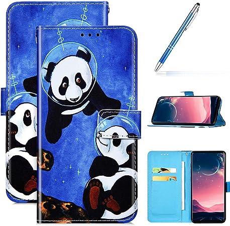 Kompatibel Mit Huawei Honor 9x Leder Hülle Handytasche Handyhülle Bunt Motiv Muster Hülle Klappbar Schutzhülle Flip Wallet Case Brieftasche Bookstyle Klapphülle Wallet Case Tasche Zwei Panda Musikinstrumente