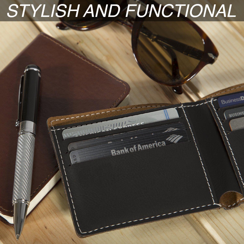 Personalized Engraved USMC Semper Fidelis Vegan Leather Slim Bifold Wallet