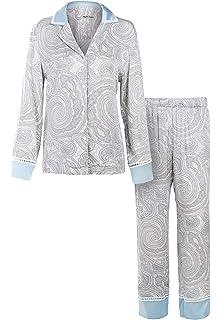Matt Viggo Women Pyjama Set Classic Satin Loungewear Paisley Pattern Print  Button Up V-Neck b3fc6f29d
