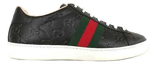 Gucci Scarpe Donna Sneaker Ace con Stampa GG in Pelle 387993 CWCG0 1070 Nero  (37.5 787c8ac31b0c