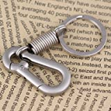 Maycom Retro Style Simple Strong Carabiner Shape Keychain Key Chain Ring Keyring Keyfob Key Holder (Matte Silver)
