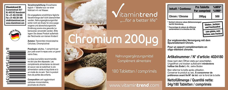 Tabletas de Cromo 200mcg - Bote de 180 tabletas para ¡¡6 MESES!! - picolinato de cromo - - sin estearato de magnesio - mejora la síntesis de proteínas: ...