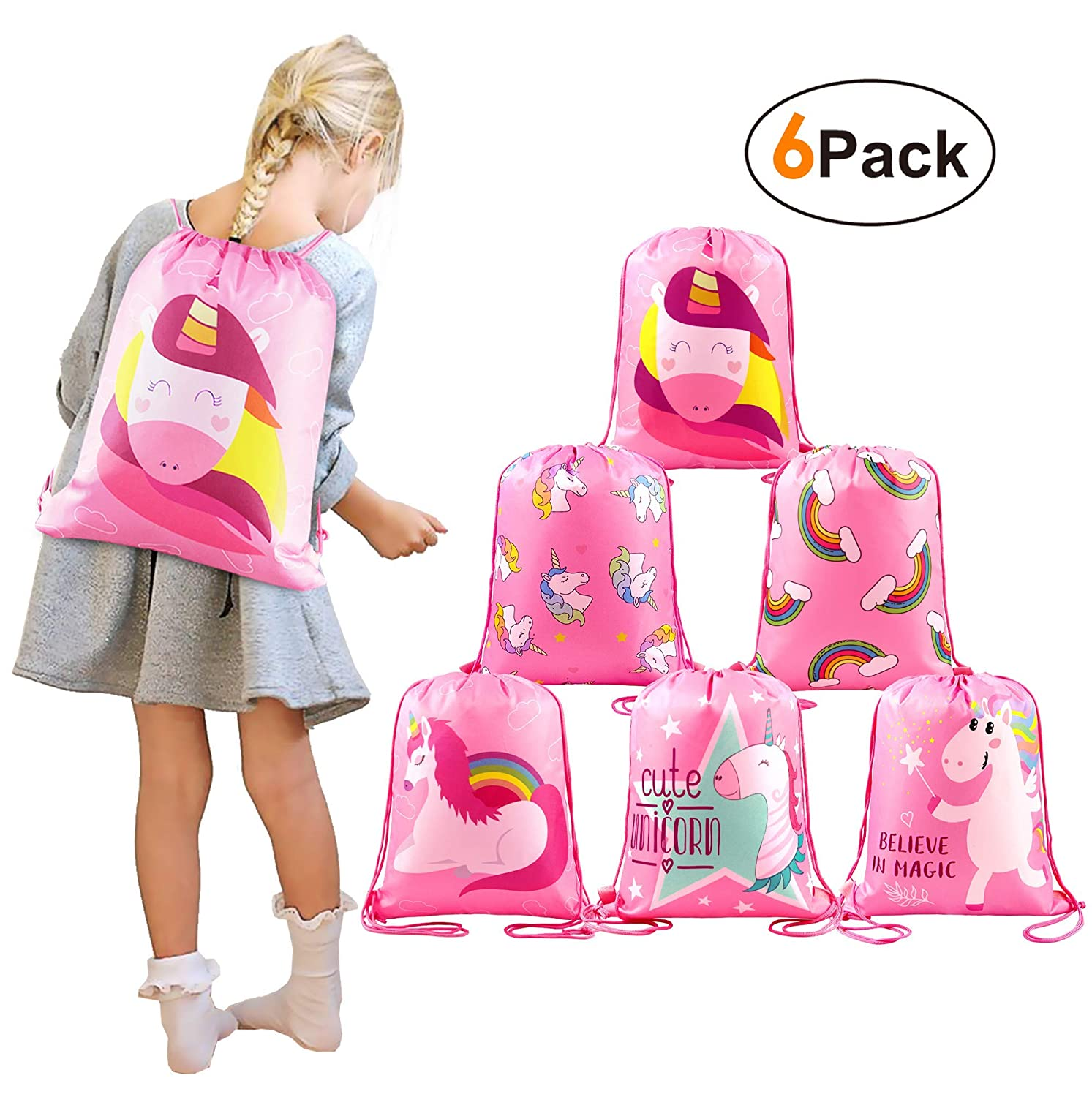 BeeGreen Unicorn-Party-Bags-Drawstring-Backpacks 6pcs for Girls Unicorn Birthday Party, Pull String Give Aways Goodie Bags for Party Favours, Girls Swim PE Bags