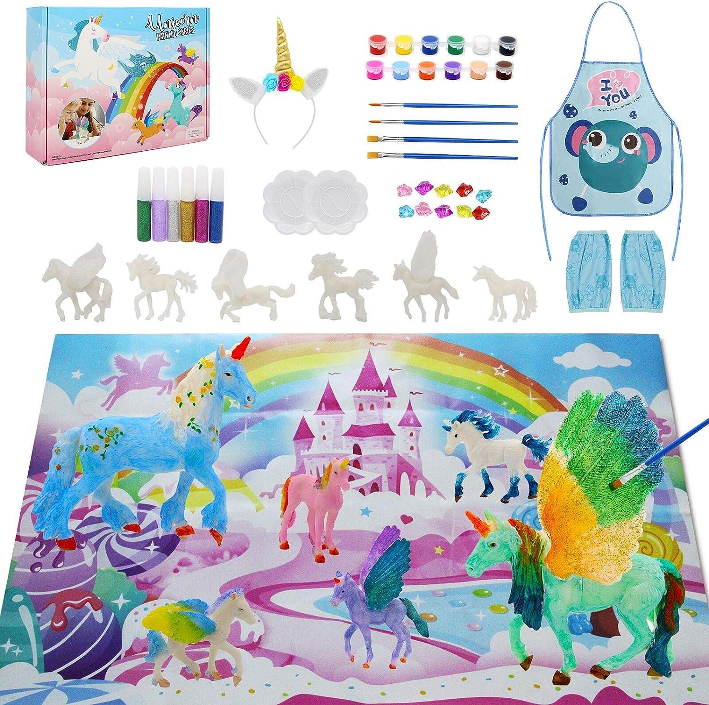 SUNACE Juego de Arte Manualidades para Niños - Regalos para Niñas Unicornios y Kit de Pintura con Pinceles Colores Tapete Unicornio para Pintar Regalo de Cumpleaños y de Navidad para Niños y Niñas