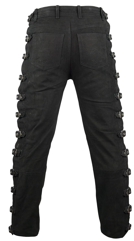 MDM Biker Lederhose mit Schnallen aus Nubuk Leder