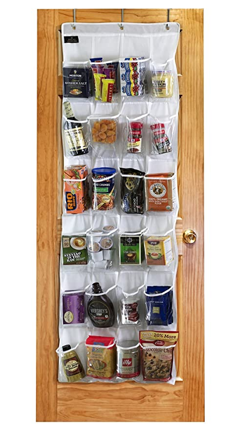 Regal Bazaar Over-the-Door Hanging White Pantry Organizer and Kitchen  Storage Unit with 24 Crystal-Clear Vinyl Pockets and 3 Metal Hooks