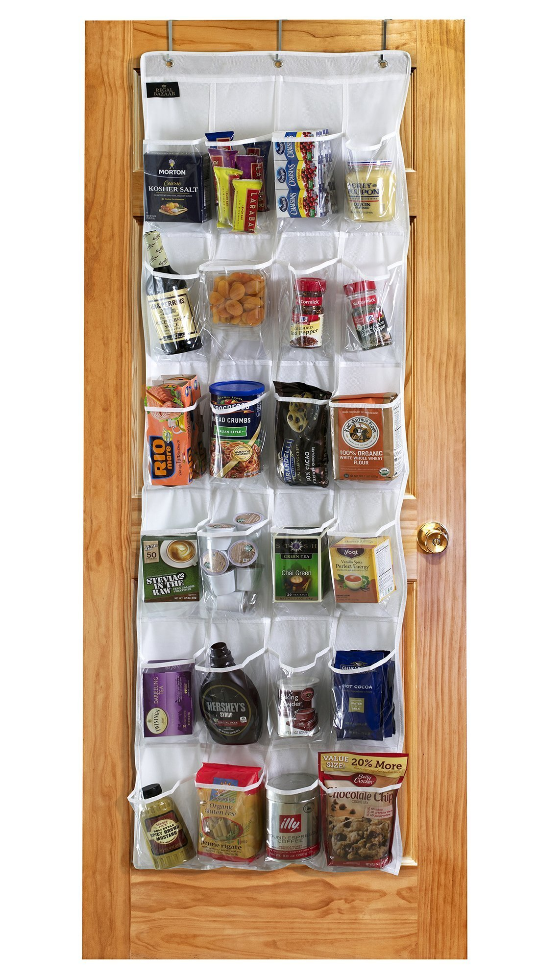 Regal Bazaar Over-the-Door Hanging White Pantry Organizer and Kitchen Storage Unit with 24 Crystal-Clear Vinyl Pockets and 3 Metal Hooks - Strong, Durable and Easy to Hang