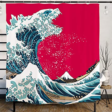 Japanese Hokusai Creative Godzilla The Great Wave Painting Artistic Shower Curtain With Hooks 71