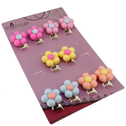 Amazon.com: Princess-J caramelo flor de color arete de clip ...