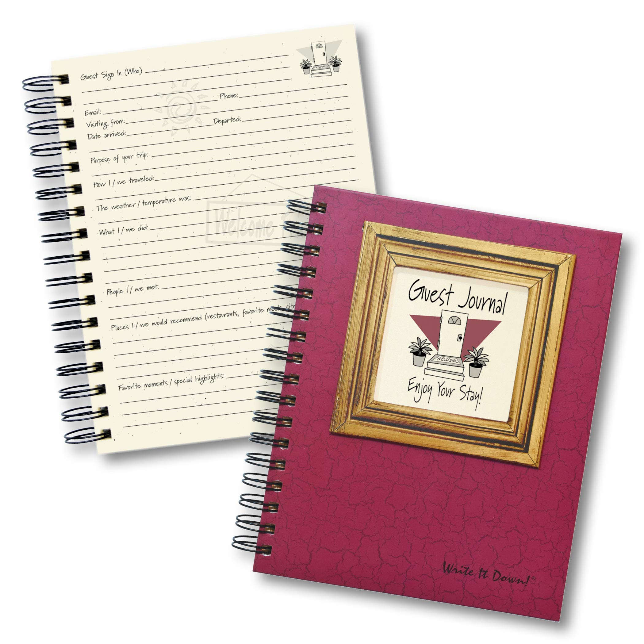 Write It Down Journals Unlimited, Series Guest or Visitors Journal - Cranberry Hard Cover