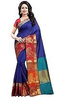 Vatsla Enterprise Women's Cotton silk Saree (VMORPICH001BLUE_BLUE)