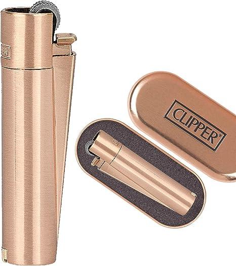 Image of Clipper 1 Encendedor Mechero Clásico Largo Metal Rose Gold Oro Rosa Mate Cepilldo + 1 Llavero