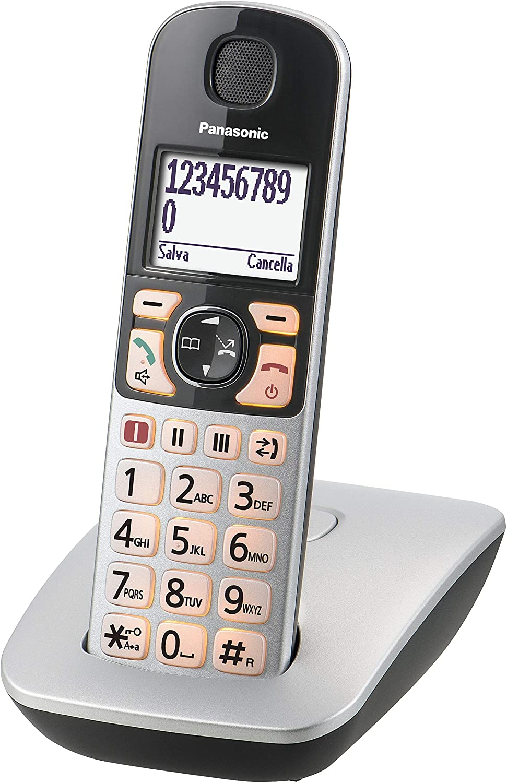 Panasonic KX-TGE510JTS - Teléfono (Teléfono DECT, Terminal inalámbrico, Altavoz, 150 entradas, Identificador de Llamadas, Plata): Amazon.es: Electrónica