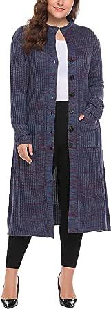 Zeagoo Womens Plus Size Classic Button Down Knit Long Cardigan Sweater Coat Pocket (16W-24W)