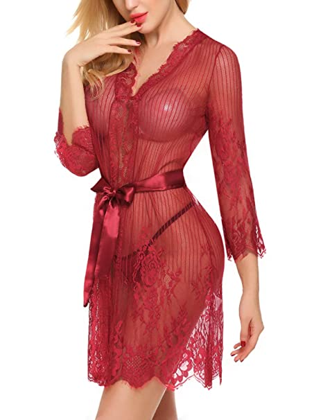 960b7239c Pintimi Women s Sexy Red Lace Lingerie Robe Sheer Kimono Night Gown G-string  at Amazon Women s Clothing store