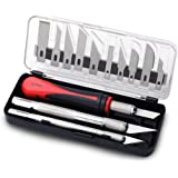 Fancii Precision Craft Knife Set 16 Pieces - Professional Razor Sharp Knives for Art, Hobby, Scrapbooking and Sculpture - Includes Stencil, Fine Point, Scoring, Chiselling Blades
