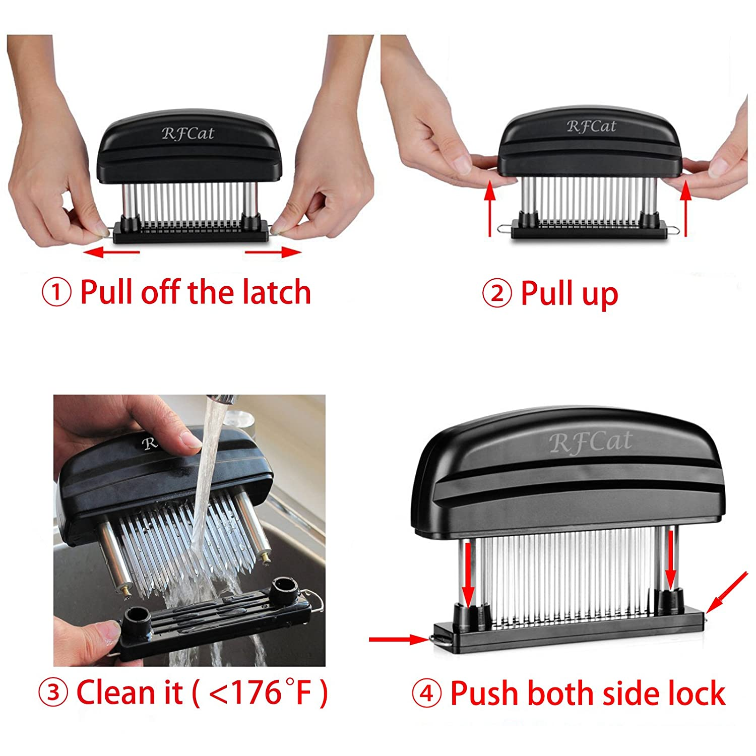 Needle Meat Tenderizer Tool with 48 Razor-Sharp Needle Stainless Steel Blades,Kitchen Tool for Steak,Beef,Chicken,Pork and Fish Black