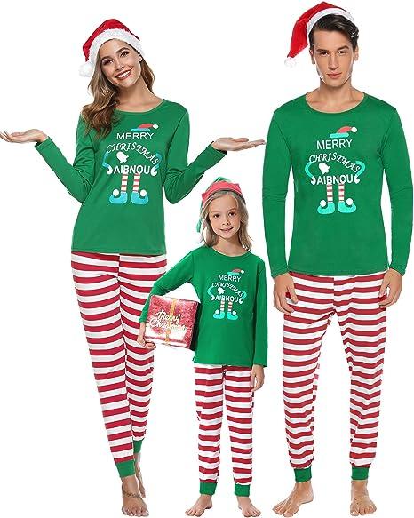 Aibrou Pijamas de Navidad Familia Conjunto Algodón, Raya Ropa de ...
