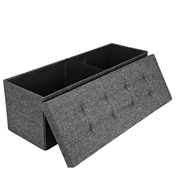 Songmics Linen Fabric Folding Storage Ottoman Bench Strong and