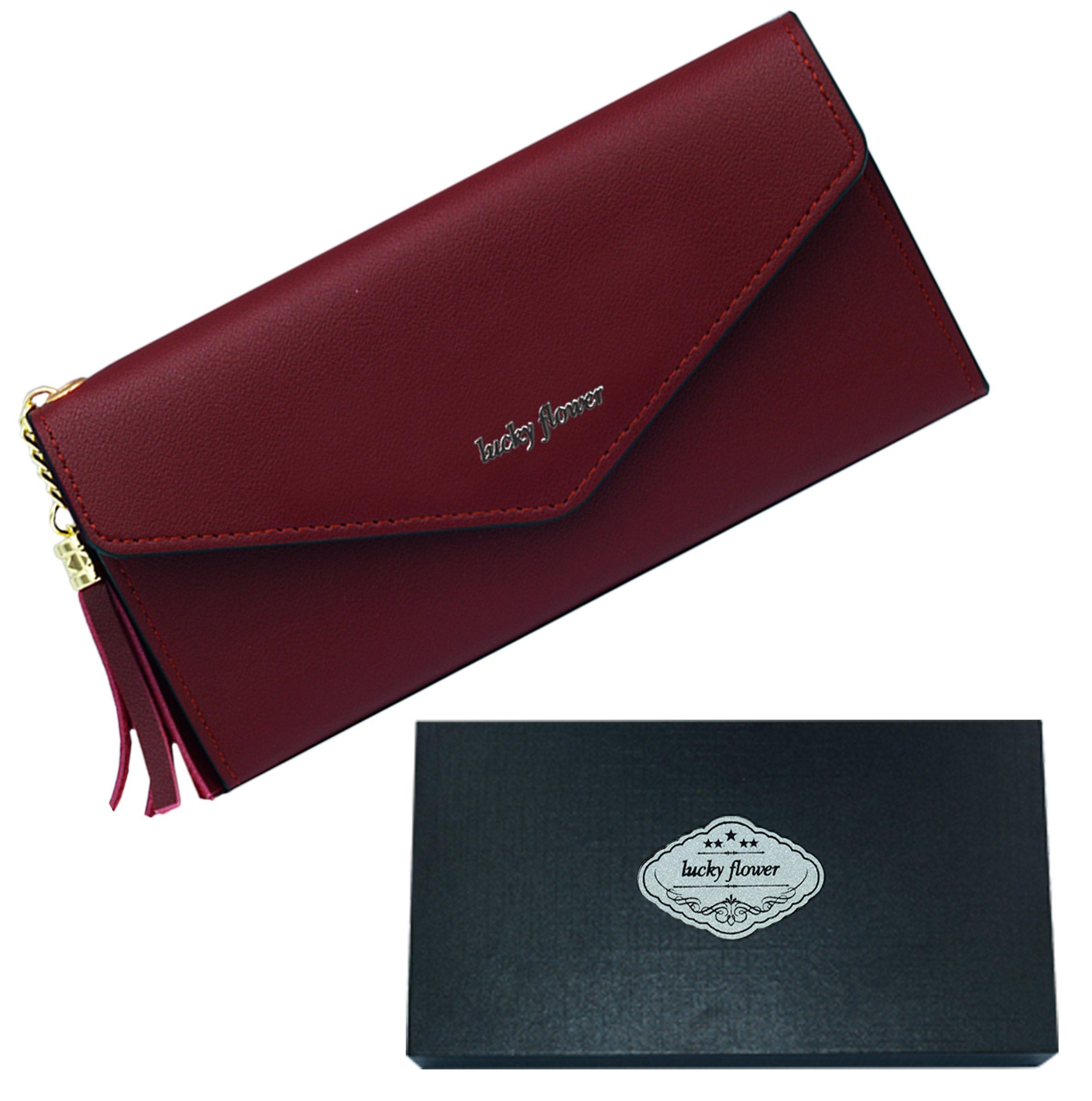 LUCKY FLOWER Leather Wallets for Women,Long Passport Holder Wallet,Multi Card Case Purse (Wine Red) …