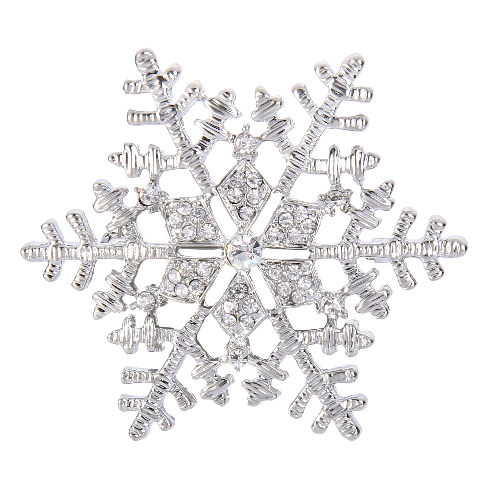 EleQueen Women's Austrian Crystal Winter Snowflake Brooch Pin Clear Silver-tone