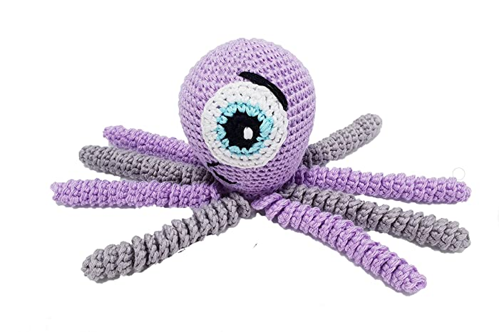 Pulpo amigurumi para recién nacido disfrazado de monstruo lila y ...