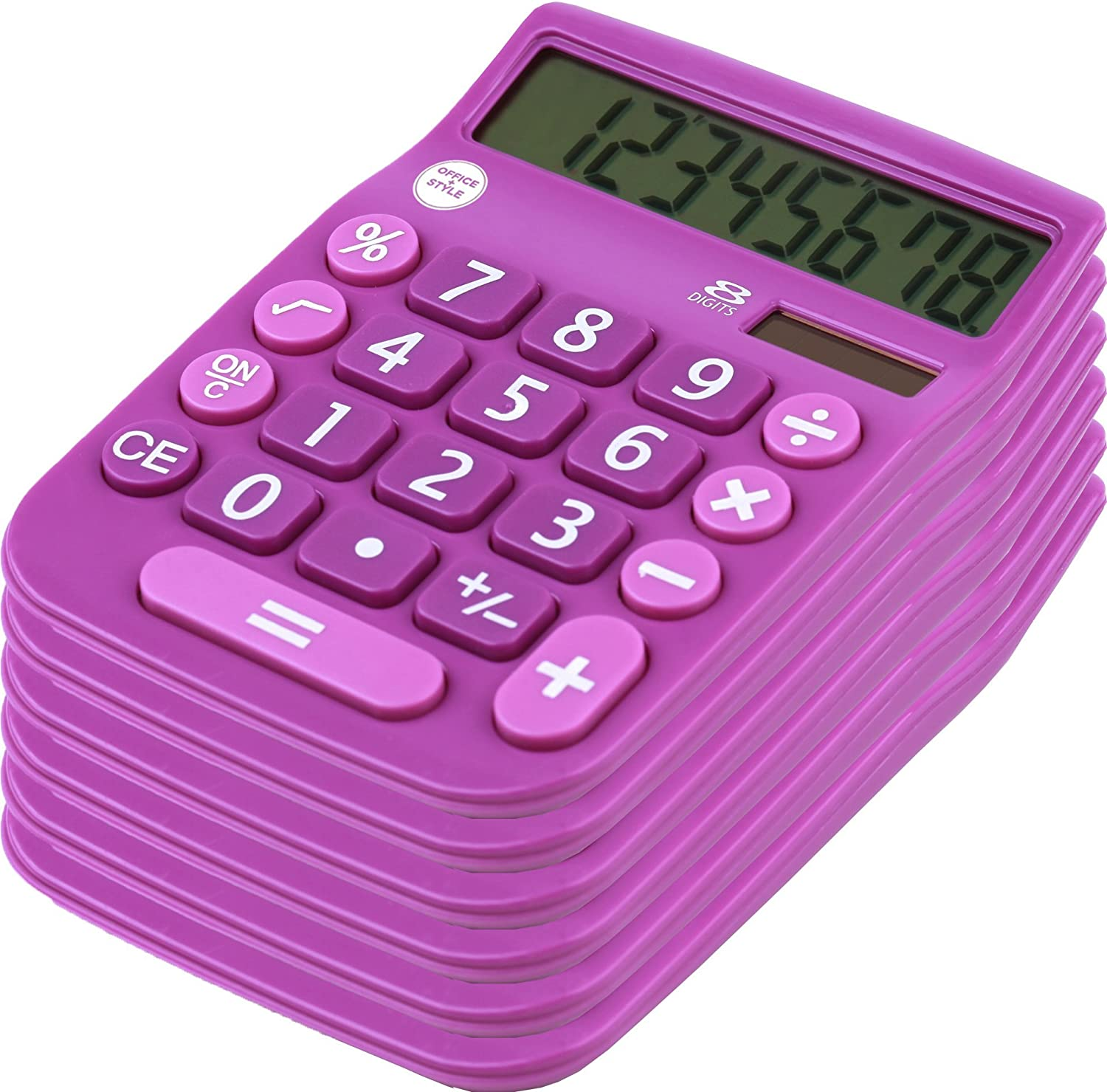 Office + Style 8 Digit Dual Powered Calculator with Large LCD Display, Lavender (Pack of 6)