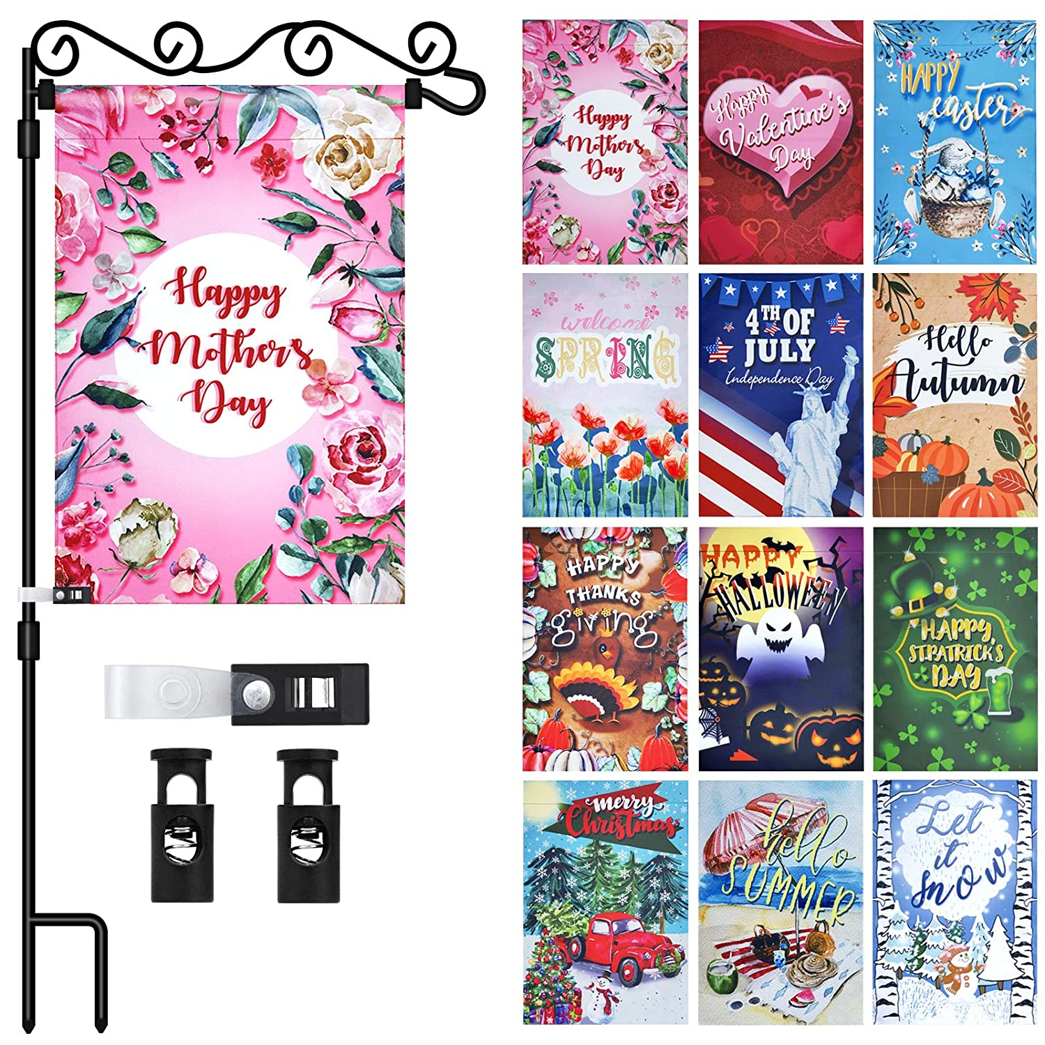 12 Pack Garden Flag with Flag Pole/Stand/Holder Festivel Double-Sided Yard Seasonal Garden Flag Decorations for Outdoor 12 x 18 Inch Small Banner Flags