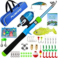 PLUSINNO Kids Fishing Pole, Portable Telescopic Fishing Rod and Reel Combo Kit with Fishing Practice Casting Plug and…