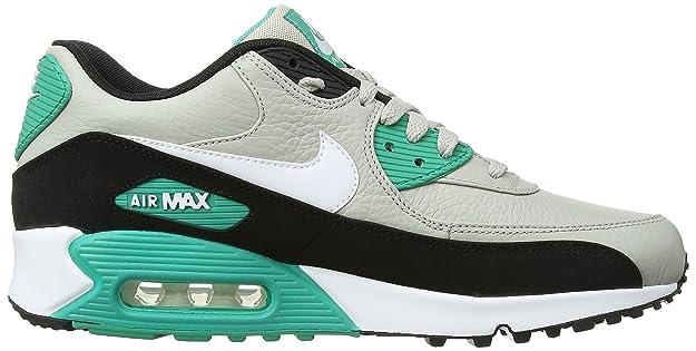 Nike Air Max 90 Leather, Running Entrainement Homme - Multicolore (Granite/ White/Black/Emrld GRN) 46.5 EU: Amazon.fr: Chaussures et Sacs