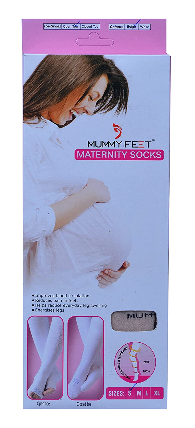 d99f1c802d909 Buy Mummy Feet Maternity Socks Open Toe Beige (L) Online at Low Prices in  India - Amazon.in