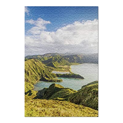 Lagoa do Fogo, Sao Miguel, Azores, Portugal - Cliff View on The Ocean 9036054 (Premium 500 Piece Jigsaw Puzzle for Adults, 13x19, Made in USA!): Toys & Games