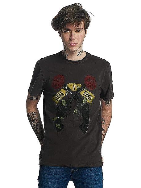 Amplified Hombres Camisetas Guns N Roses Shooting Roses: Amazon.es: Ropa y accesorios