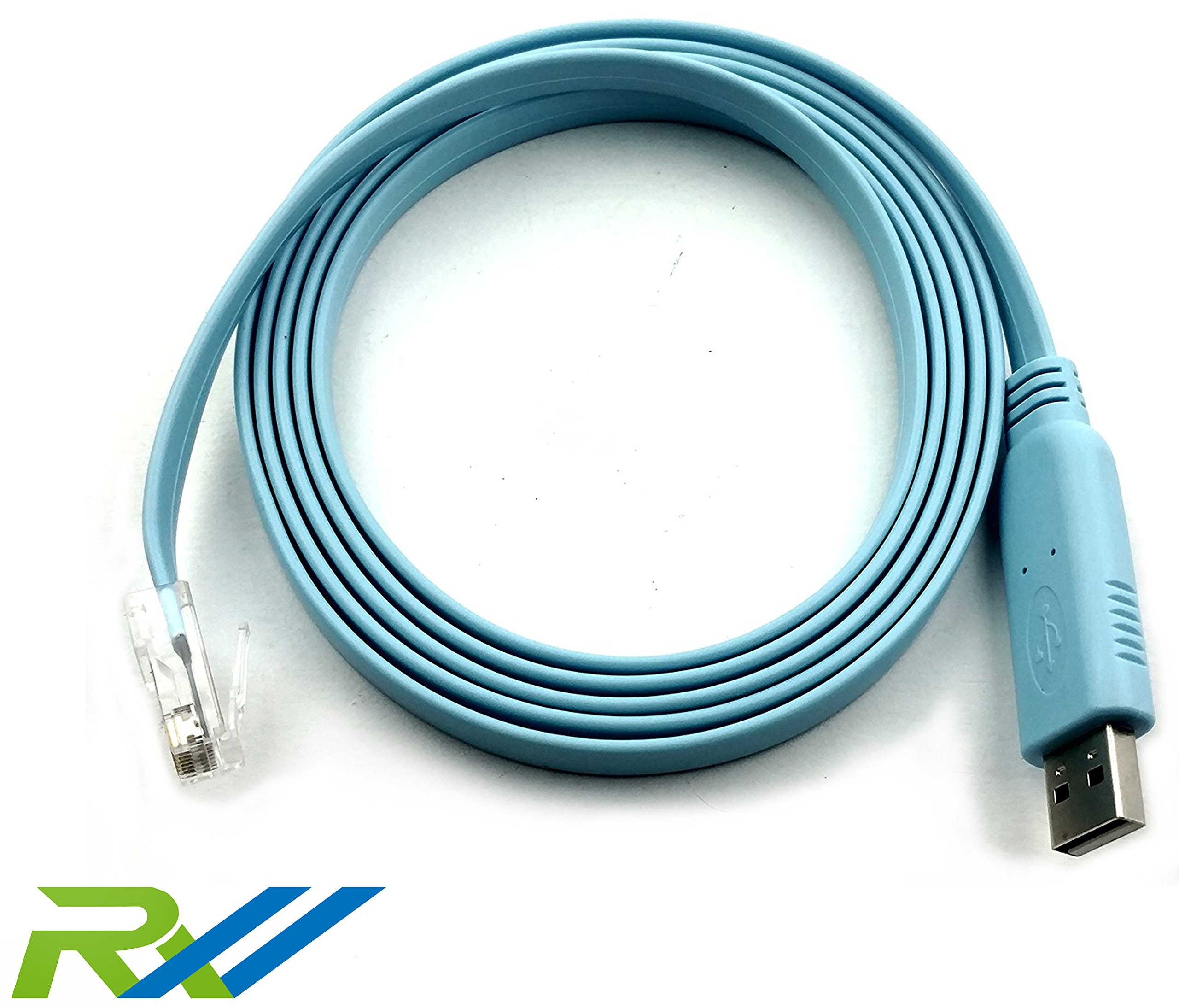 Cisco Compatible Console Cable, 6ft, FTDI USB to RJ45 Console Cable / Windows 7, 8 / Vista / MAC / Linux / RS232 Switch Router