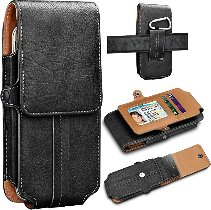 Eutekcoo Phone Holsters for iPhone 11 Pro Max XS XR X 8 7 6 Plus,/ 6.6 Universal Premium Leather Belt Clip Pouch Carrying Wallet Cover Card Holder Slots